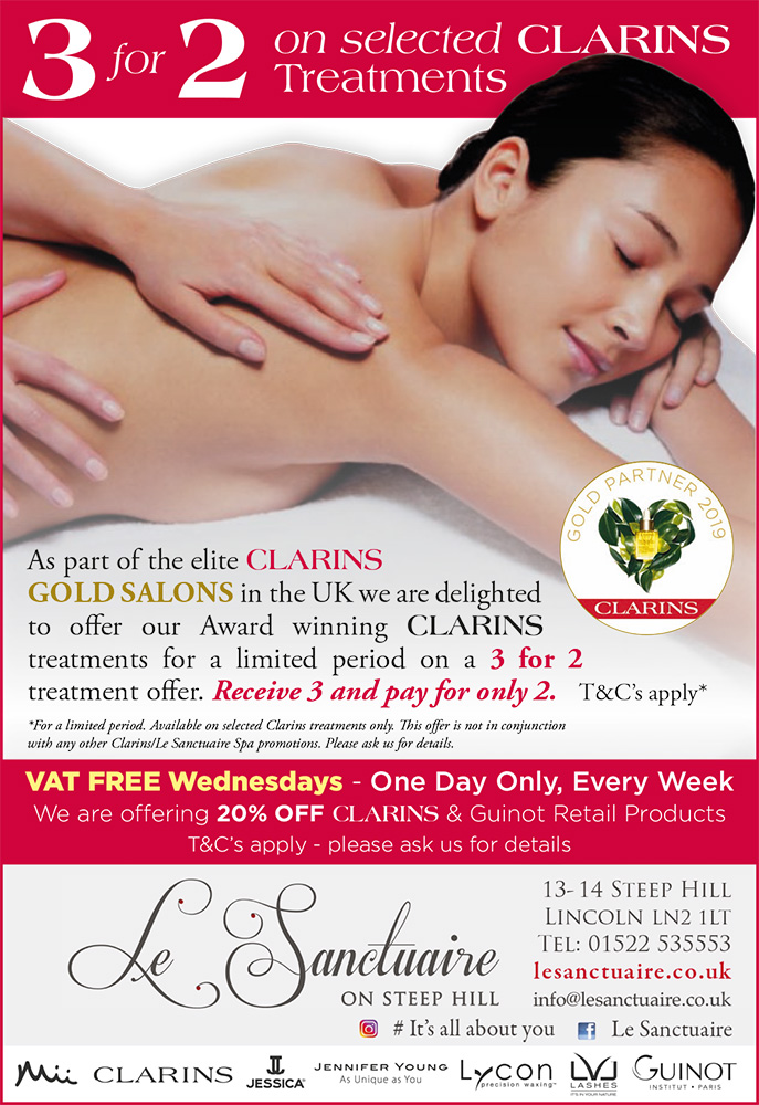 3 for 2 on selected Clarins Treatments – Limited time only!